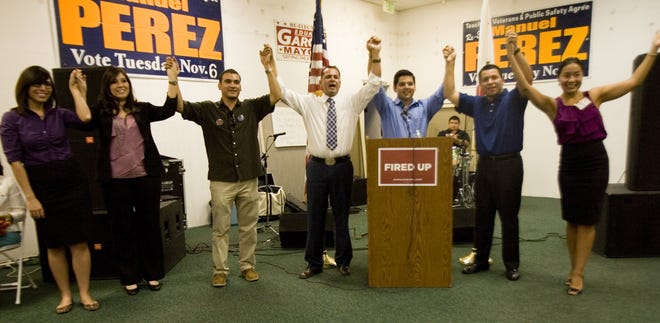 Politicians celebrate 2012 election victories at Pérez's campaign office in Coachella. The 2012 election was monumental for Latino politicians from the east valley, who won seats on the city council, in the State Assembly, and in the U.S. House of Representatives.