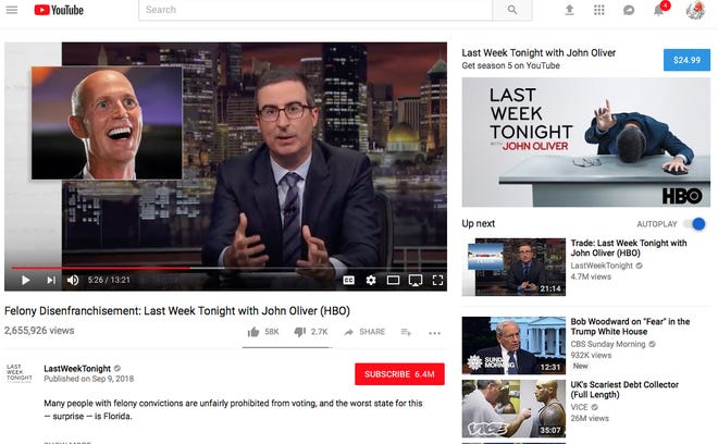 John Oliver takes on Florida's voting rights debacle.