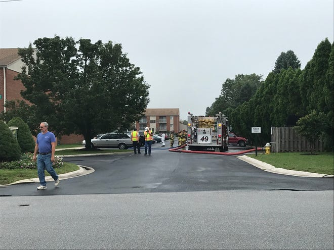 Hanover Area Fire and Rescue work on the scene of a gas leak in the 900 block of Randolph Street on Sept. 12, 2018.