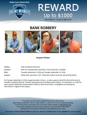 Chandler police are seeking a man who has committed two bank robberies.