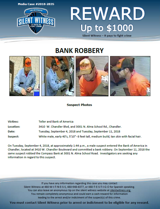 Chandler bank robber still at large as police ask for help