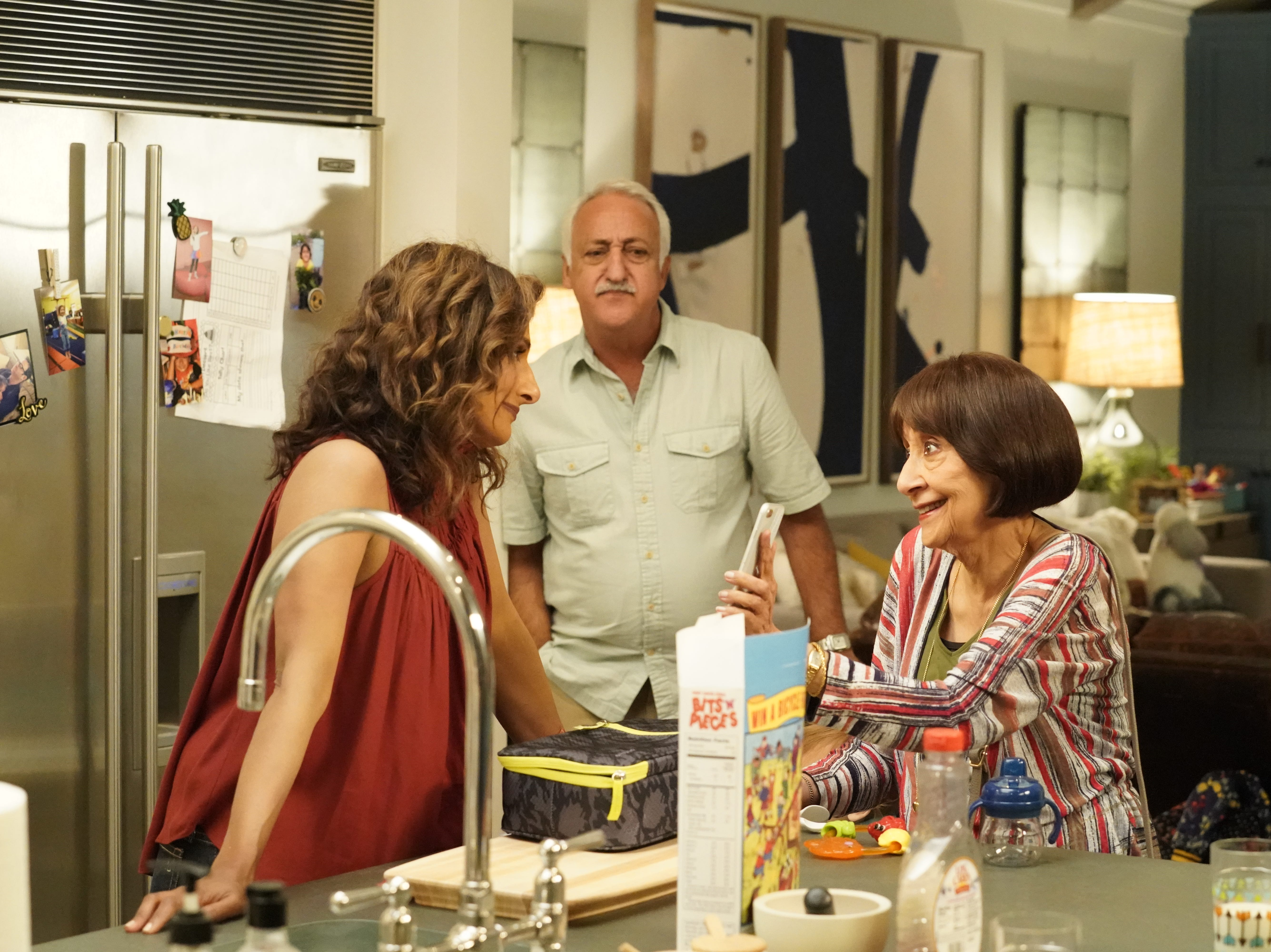 "In ""I Feel Bad,"" Emet (Sarayu Blue, left) deals with her parents (Brian George and  Madhur Jaffrey)"