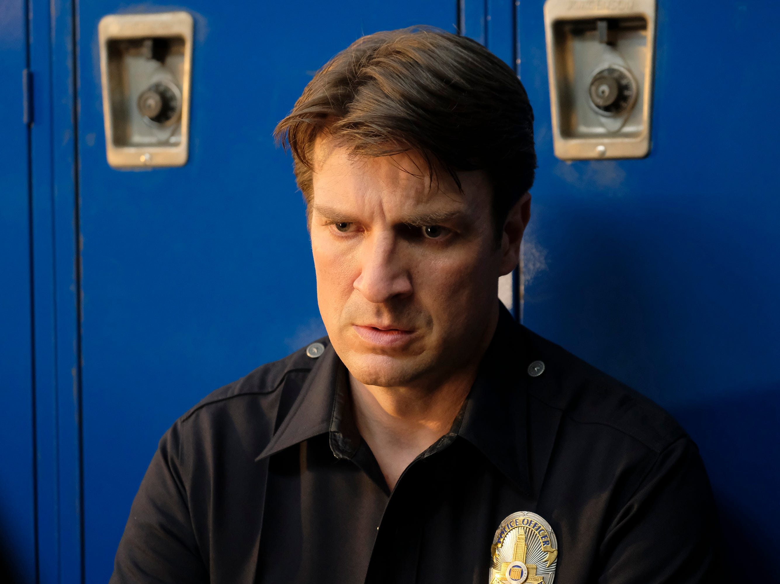 "Starting over won't be easy for John Nolan (Nathan Fillion) in ""The Rookie."""