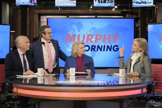 "Most of the gang's all here: ""Murphy Brown"" reunites Frank (Joe Regalbuto, from left), Miles (Grant Shaud), Murphy (Candice Bergen) and Corky (Faith Ford)."