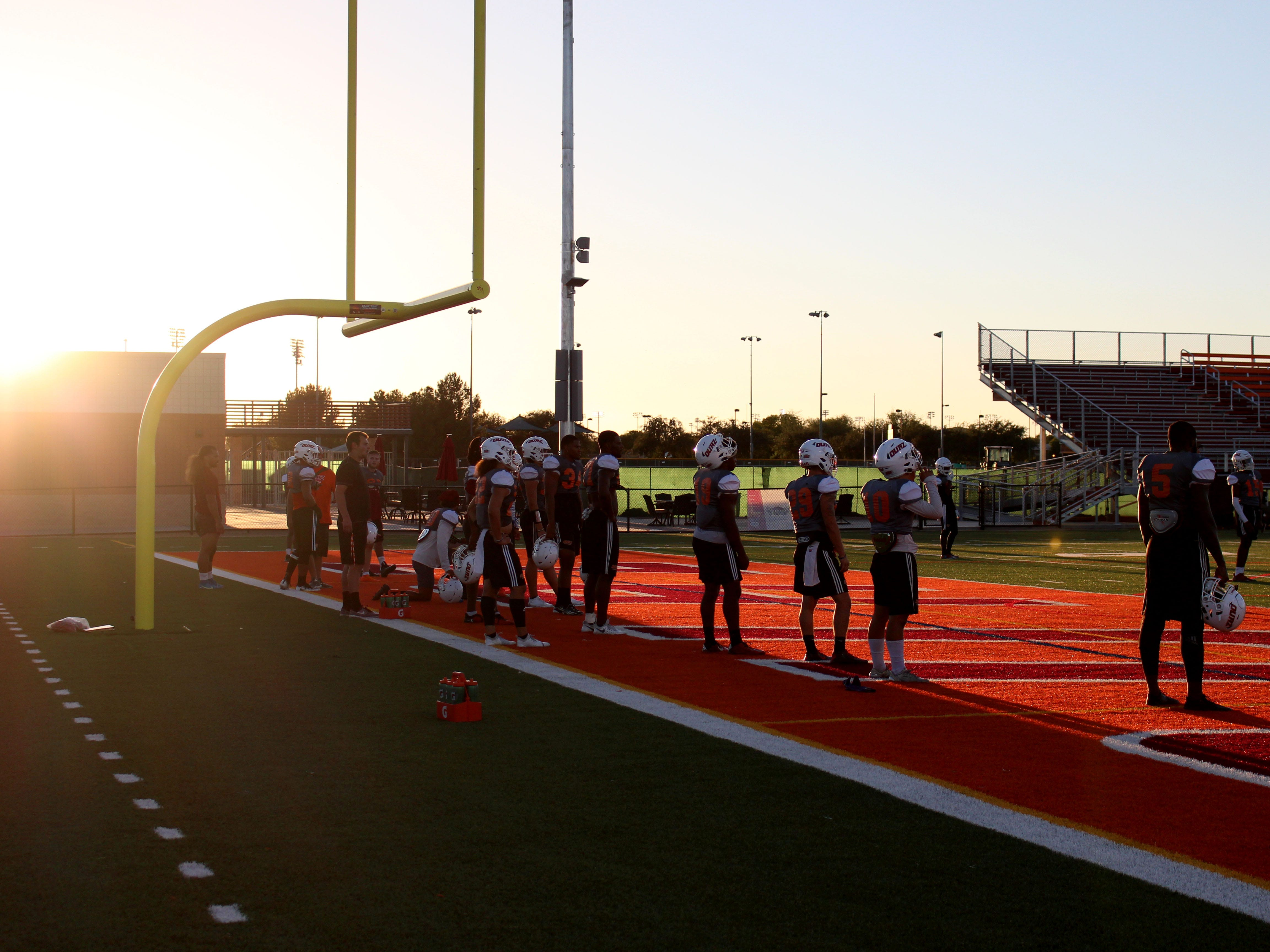 OUAZ team watches practice on Tuesday night in Surprise on Sept. 11, 2018.