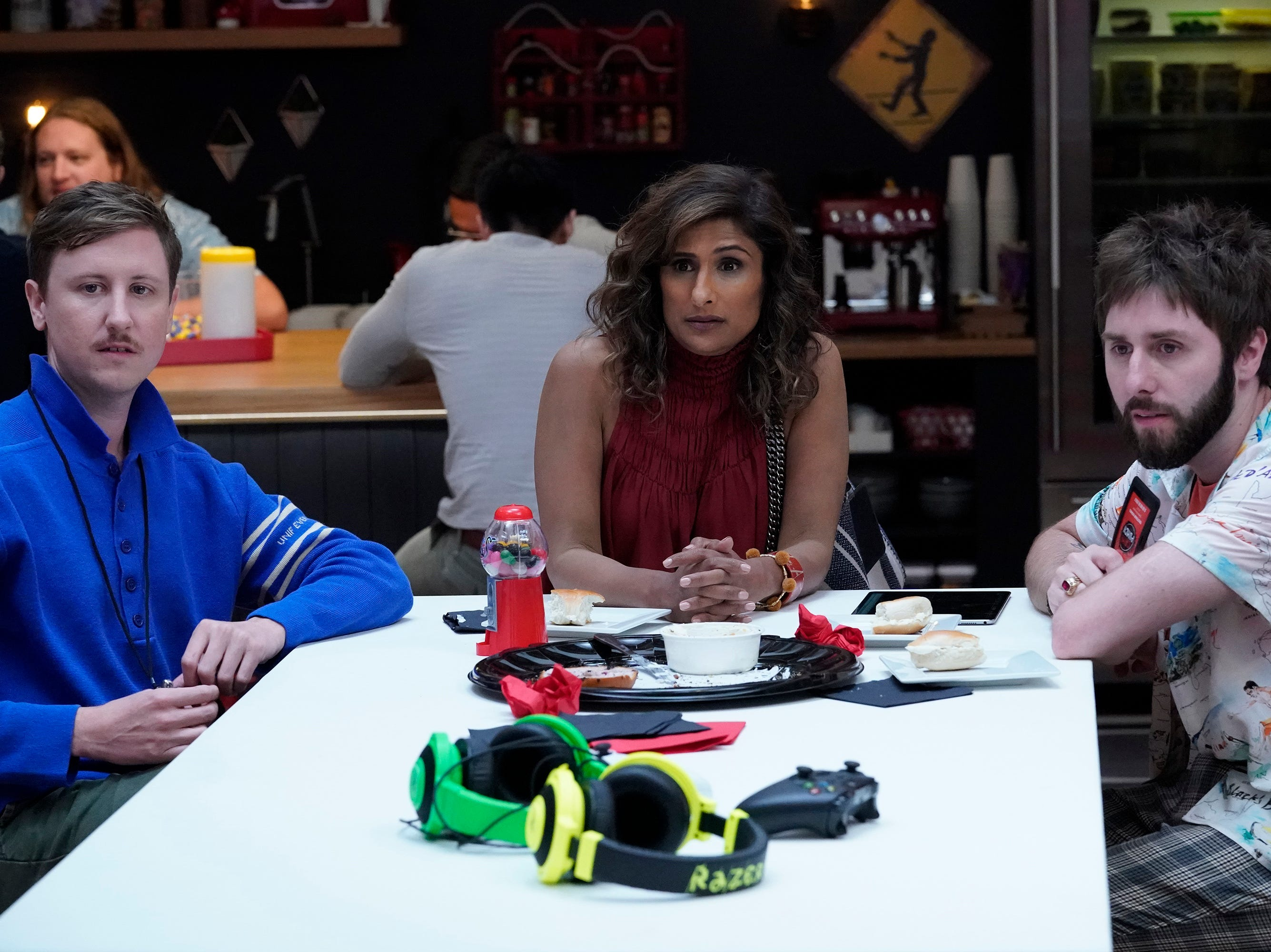 "Johnny Pemberton (left), Sarayu Blue and James Buckley star in ""I Feel Bad."""