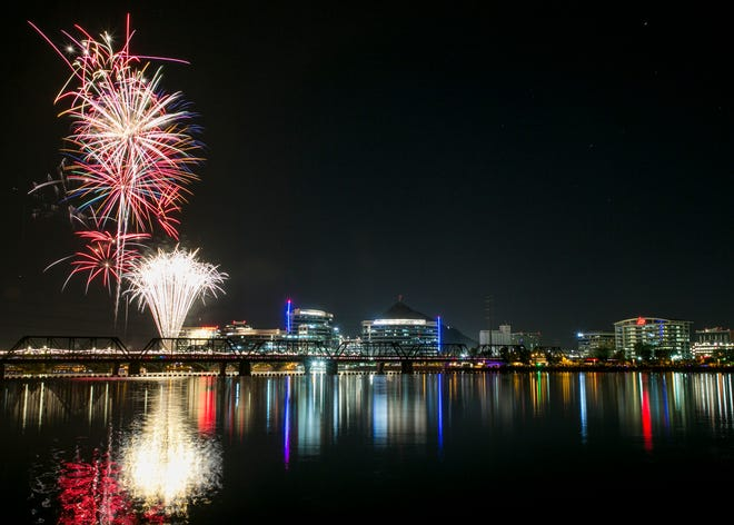 Fireworks display over Tempe Town Lake for the Fourth of July event July. 4, 2018 in Tempe,  Ariz.