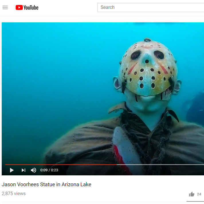 Parks officials: 'Friday the 13th' statue, skeletons under Lake Pleasant have to go