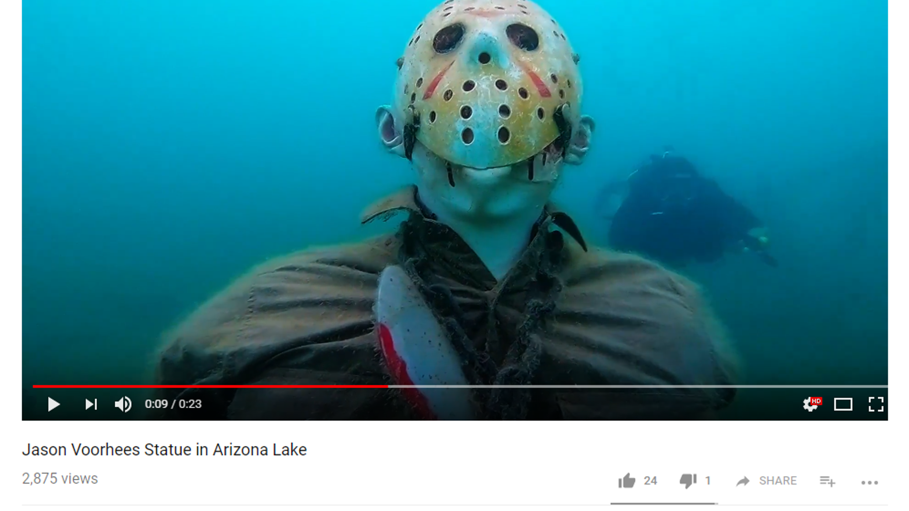 Officials Friday The 13th Statue Under Lake Pleasant Has To Go