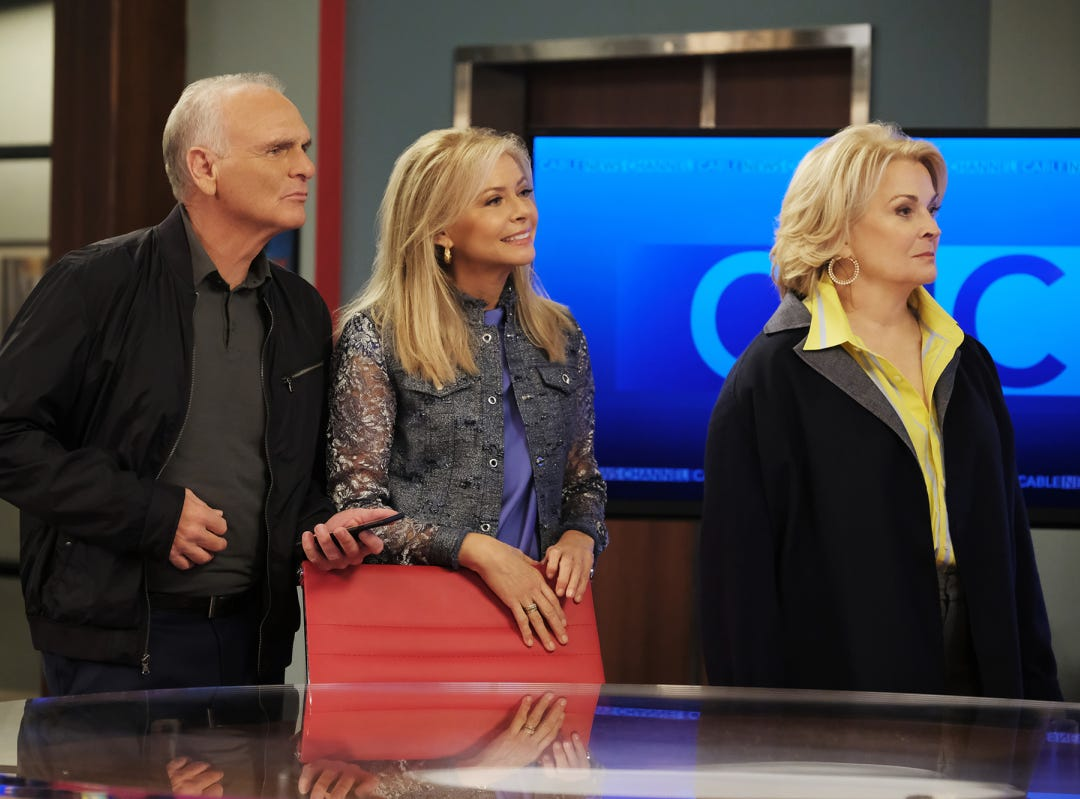 "Frank (Joe Regalbuto, from left), Corky (Faith Ford) and Murphy Brown (Candice Bergen) all return on ""Murphy Brown."""