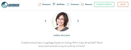 The Landmark Home Warranty website cites glowing comments from people the company says are past customers. Pictures of people next to the comments are stock photos, according to an online reverse image search.