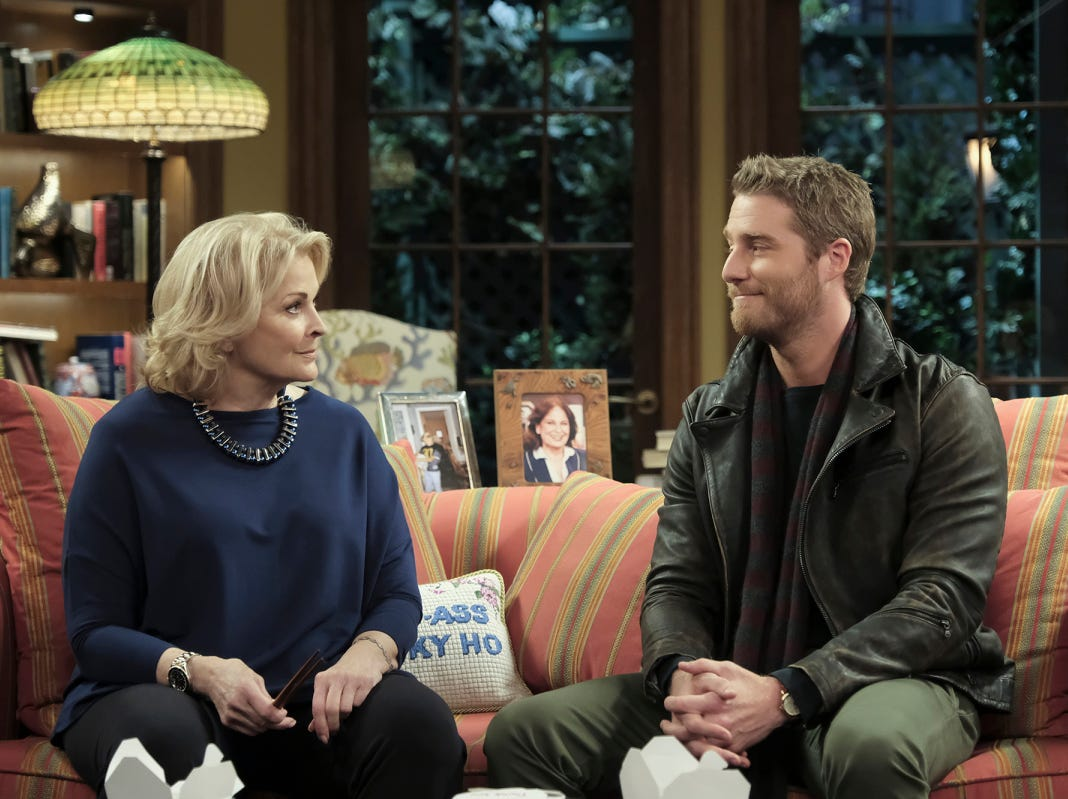 "Murphy (Candice Bergen) talks with her son, Avery (Jake McDorman), in ""Murphy Brown."""