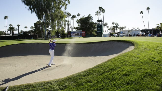 Lee Janzen blasts out of a greenside bunker on the 9th hole during round two of Charles Schwab Cup Championship on Nov. 11, 2017 at Phoenix Country Club in Phoenix, Ariz.