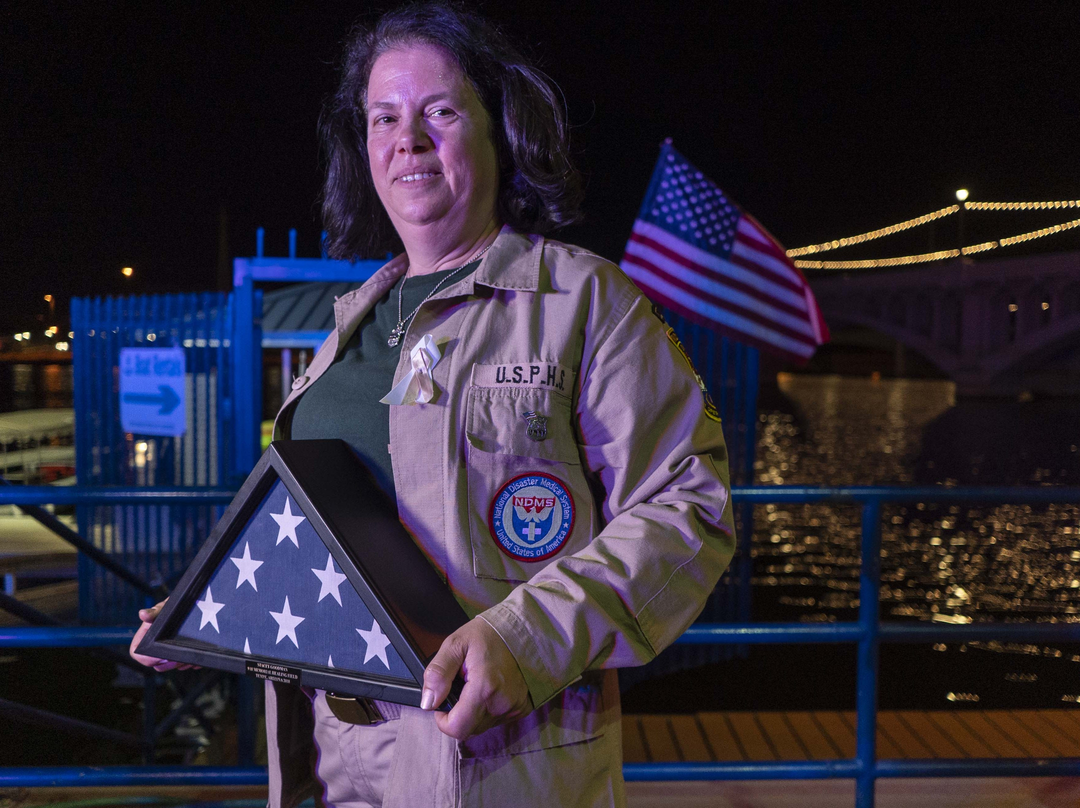 Stacey Goodman, a retired Suffolk County Police Department detective, volunteered at Ground Zero in the days after 9/11 and spoke during the ceremony at the Healing Field at Tempe Beach Park on Sept. 11, 2018. Goodman worked in the makeshift 9/11 morgue for 23 days. She now lives in the Valley.