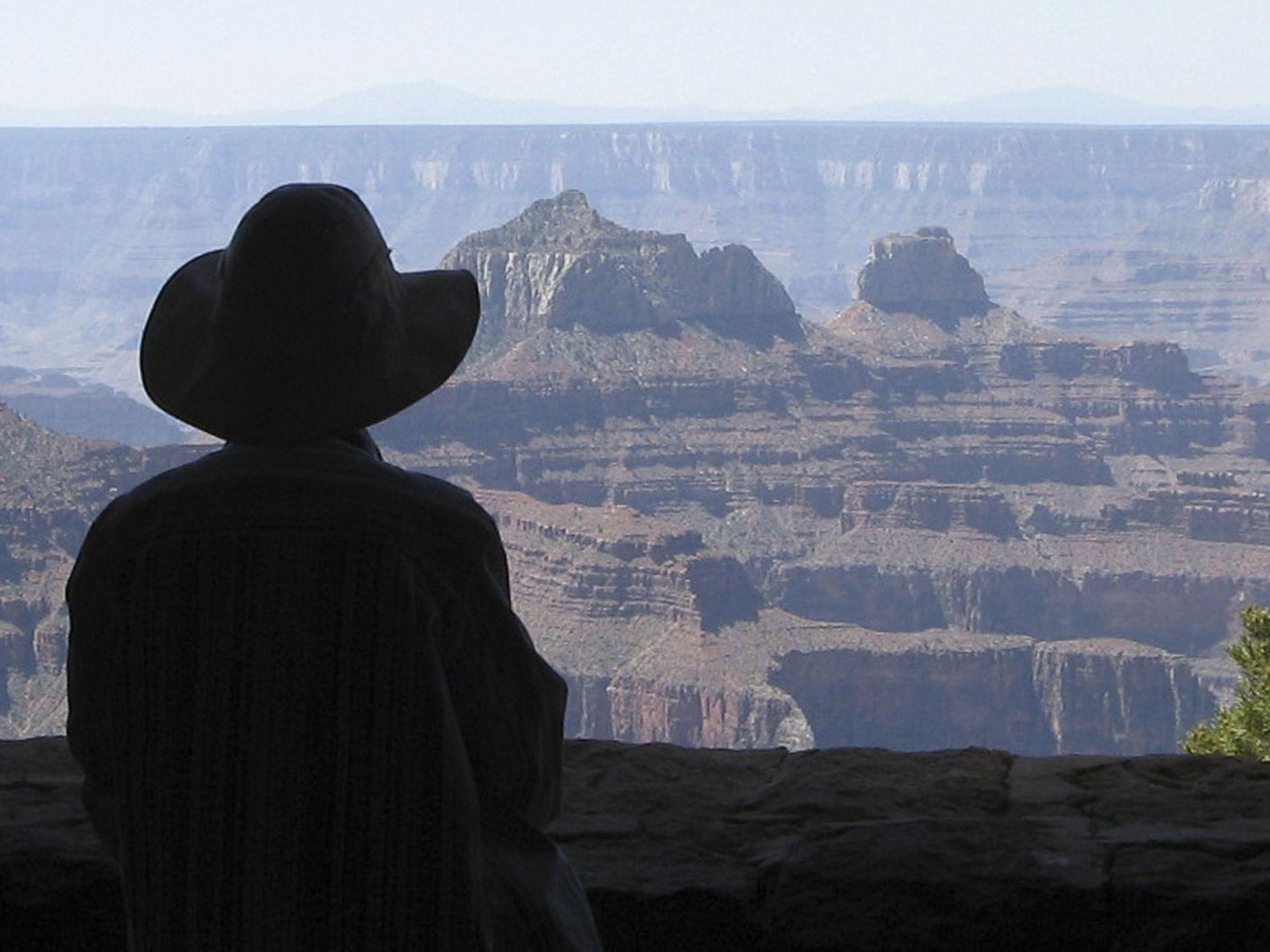Bill Dellinges, de Apache Junction, tomó esta foto de su esposa, Lora, mirando hacia la majestuosa extensión del Gran Cañón.