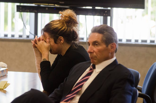 Theresa Gafken reacts to a guilty verdict Wednesday, Sept. 12, 2018. Gafken was found guilty of second degree murder in a fatal crash April 11 that killed Kristine Donahue.