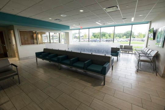 The public waiting area in the emergency room of the south tower at McLaren Port Huron. The room will have several TV sets, as well as a system that allows family members to track their loved ones through the facility.