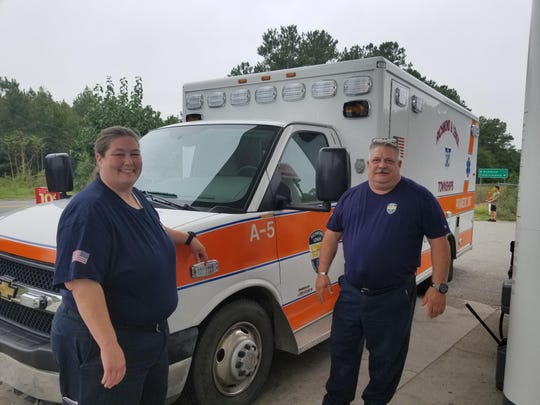 Paramedic Dennis Spens and EMT Shelly Szymanski of Richmond Lenox EMS are heading south to assist with hurricane relief.