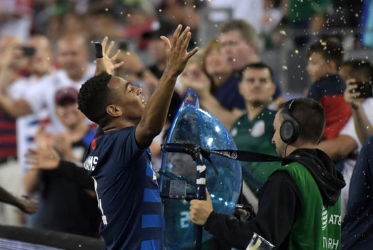 United States midfielder Tyler Adams celebrates after scoring a goal against Mexico in the second half during an international friendly soccer match at Nissan Stadium in Nashville on Tuesday.