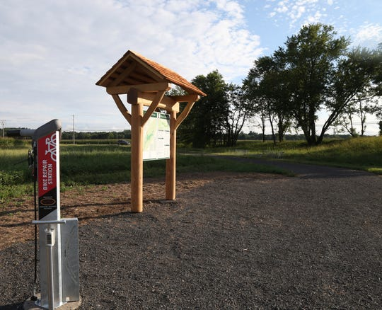 The River to Ridge trailhead kiosk and bicycle repair stand in New Paltz on Sept 7, 2018.