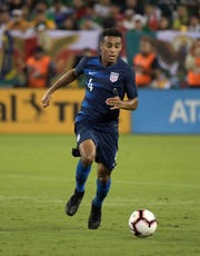 United States midfielder Tyler Adams pursues the ball in the second half against Mexico during an international friendly soccer match at Nissan Stadium in Nashville in September.