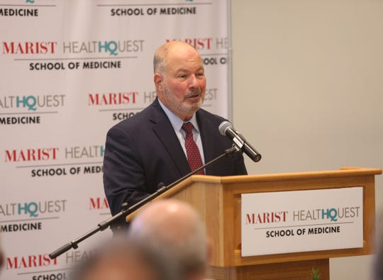 Marist College president David Yellen speaks during Wednesday's press conference announcing the Marist HealthQuest Medical School on Sept 12, 2018.