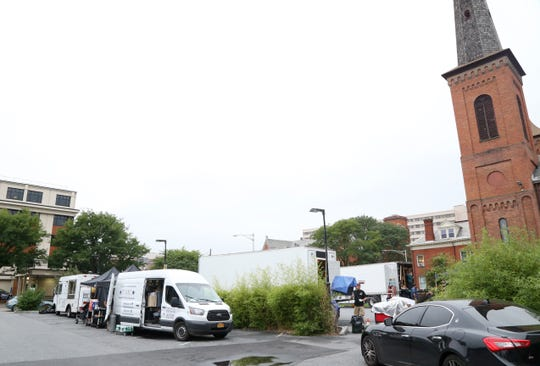 "A production crew from HBO's ""High Maintenance"" parked Wednesday at Mill House Brewing Co. in the city of Poughkeepsie."