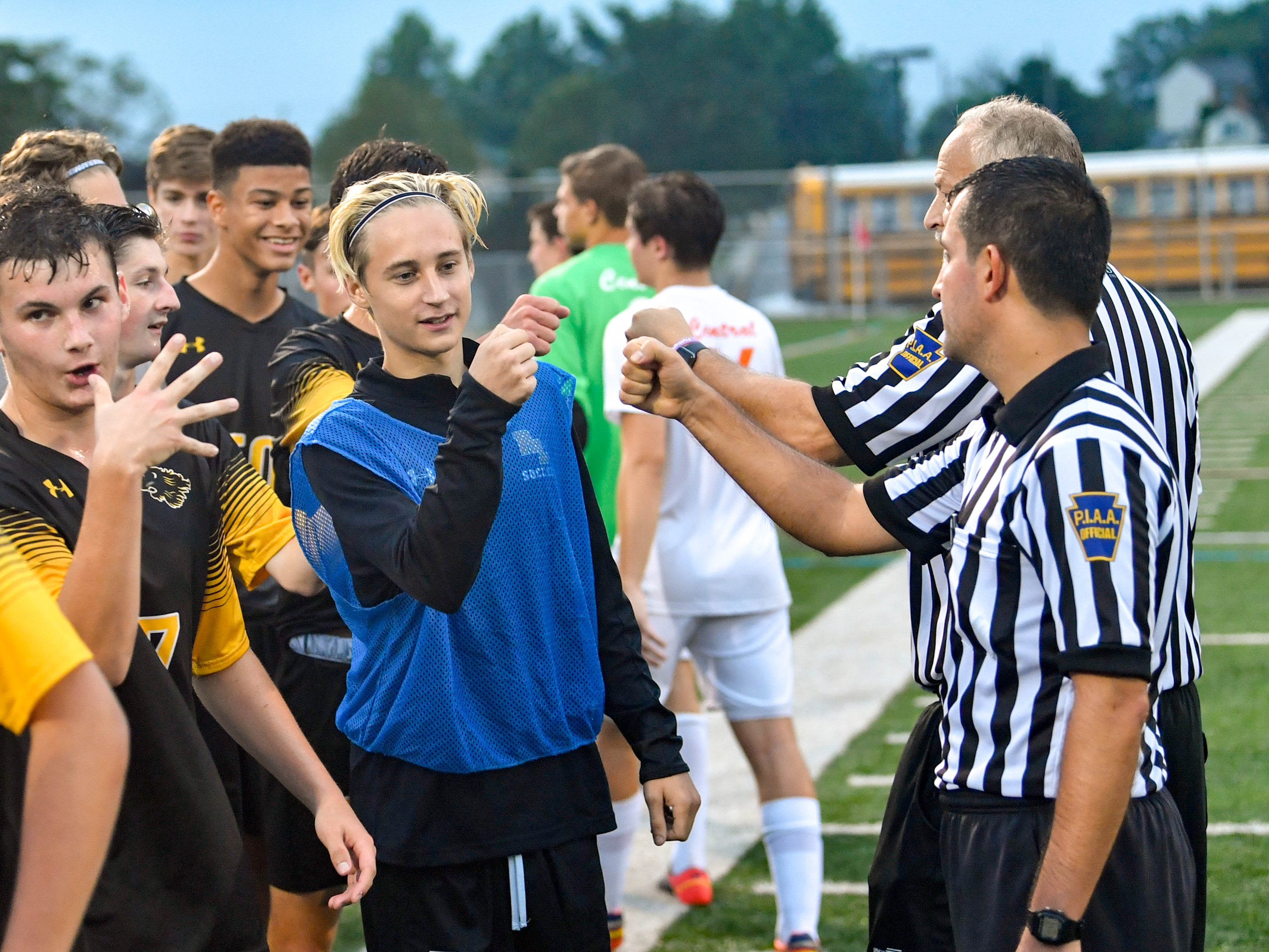 Red Lion thanks the refs after their 2-0 victory over Central York, September 11, 2018.