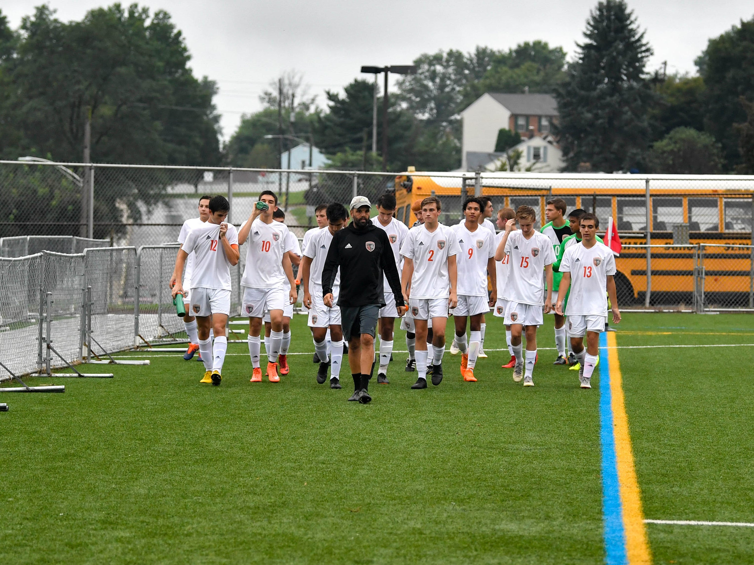 The Panthers head back to the bench as halftime ends during the Red Lion vs. Central York soccer game September 11, 2018.