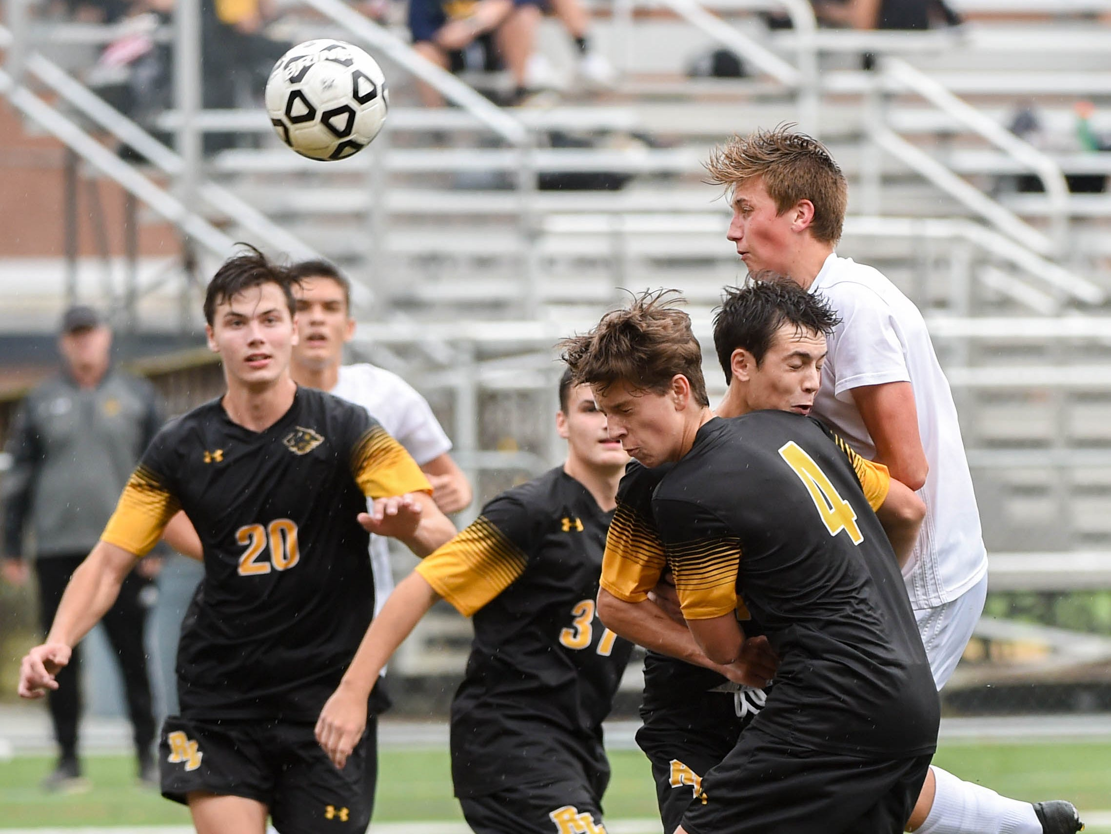 The Panthers head one to goal during their game against Red Lion, September 11, 2018.