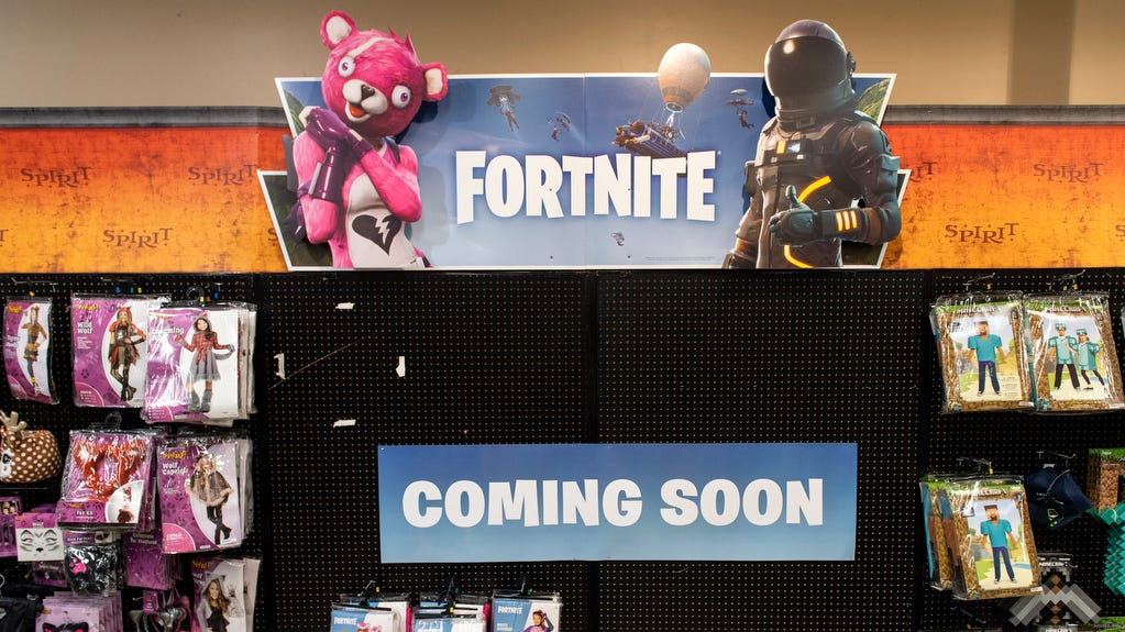 'Fortnite' costumes have been a big interest this year. Spirit Halloween stores have had trouble keeping them on the shelves.