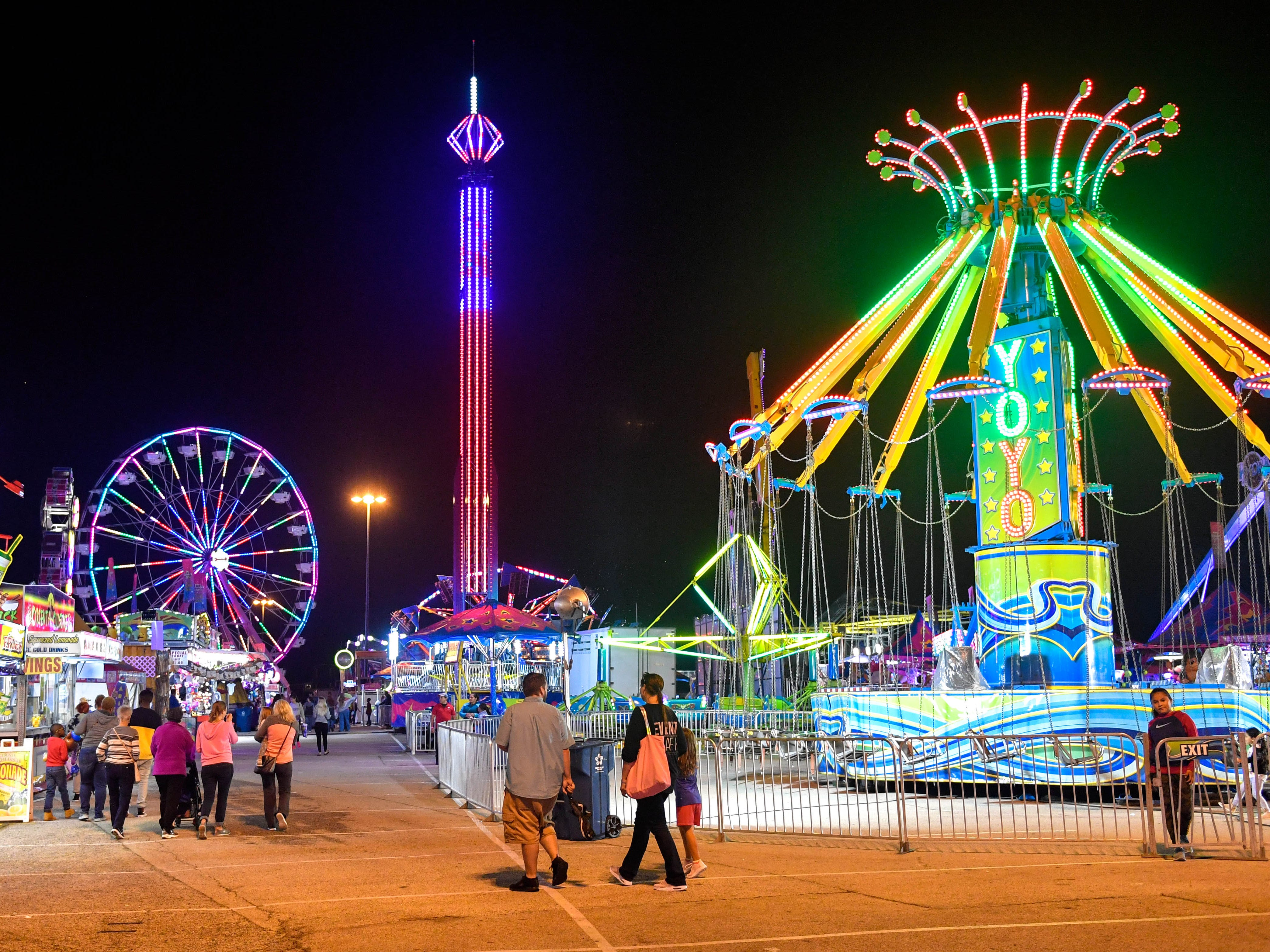 The lights from York Fair can be seen for miles, Tuesday night, September 11, 2018.
