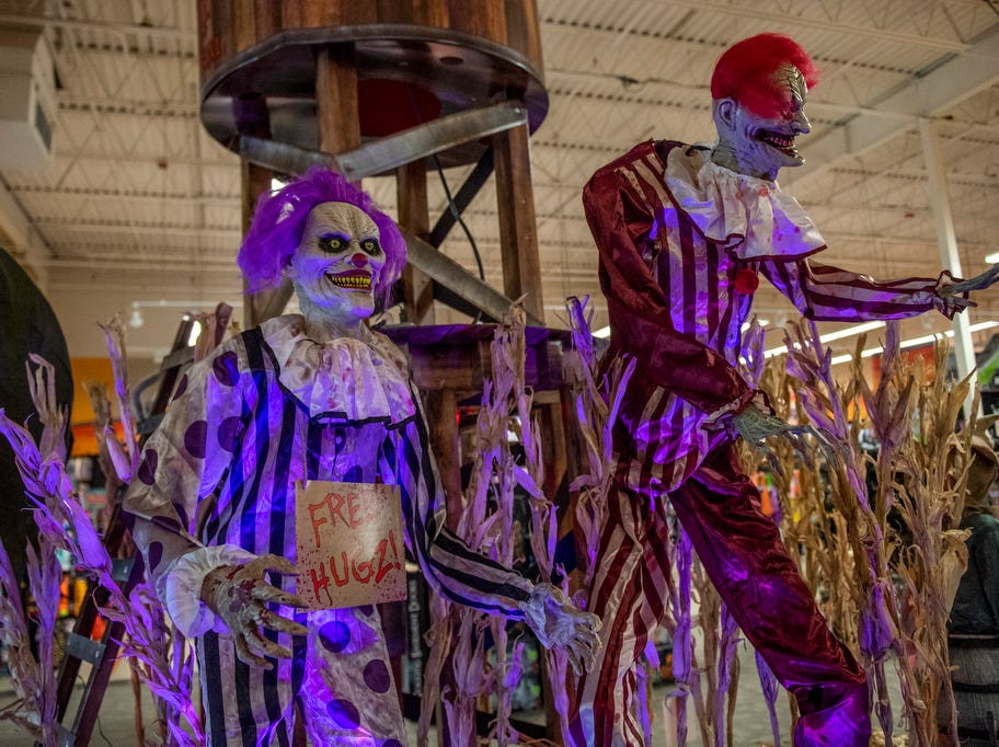 Clown mannequins displayed at Spirit Halloween store,  Wednesday, September 5, 2018.