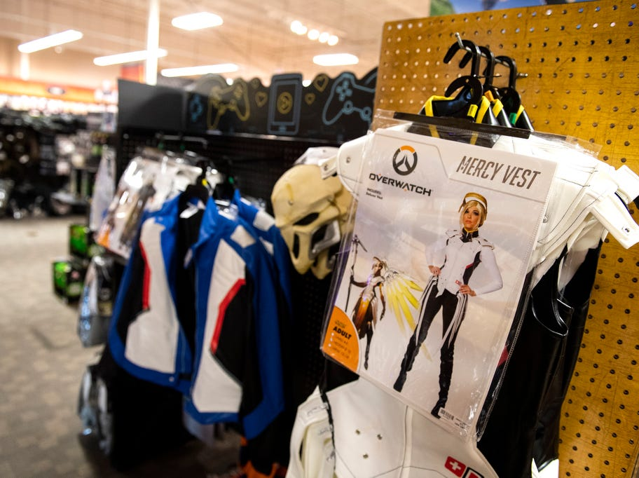 Overwatch costumes sit on display at Spirit Halloween store in West Manchester Township.