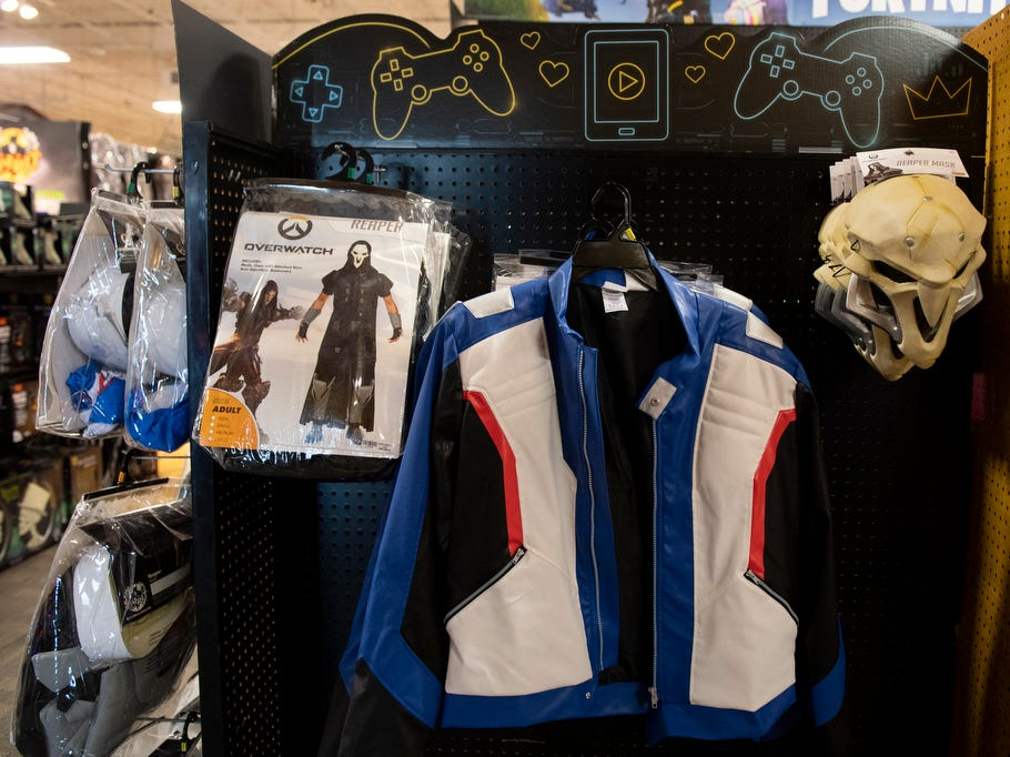 Overwatch costumes sit on display at Spirit Halloween store, Wednesday, September 5, 2018.