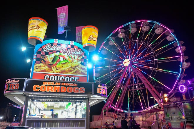 Food vendors are never too far away from the rides at the York Fair.