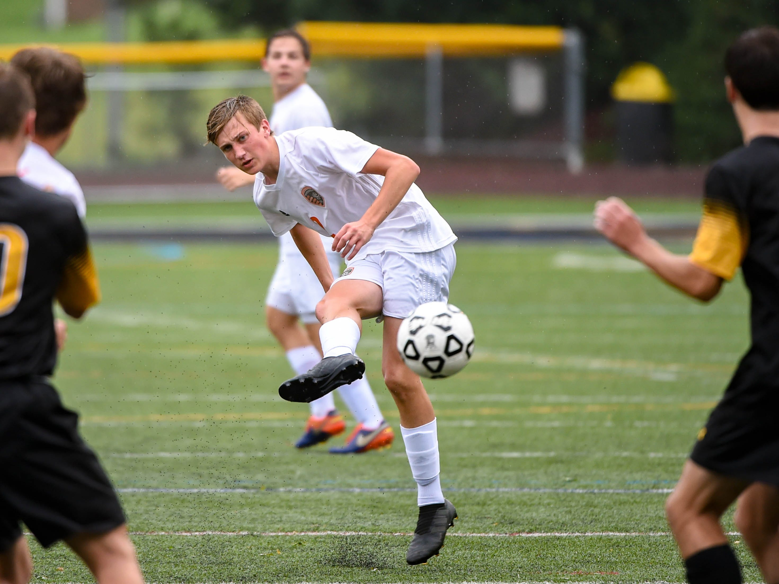 Alex Salter (2) takes the shot during the Red Lion vs. Central York soccer game September 11, 2018.