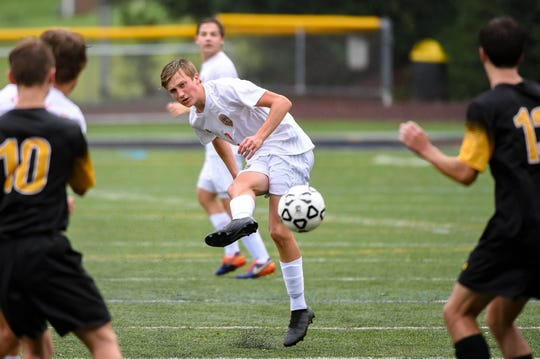 In this file photo, Central York's Alex Salter (2) takes the shot during the Red Lion vs. Central York soccer game September 11, 2018. Salter scored in double overtime Saturday, Sept. 29 to lift the Panthers to a 1-0 victory against Red Lion.