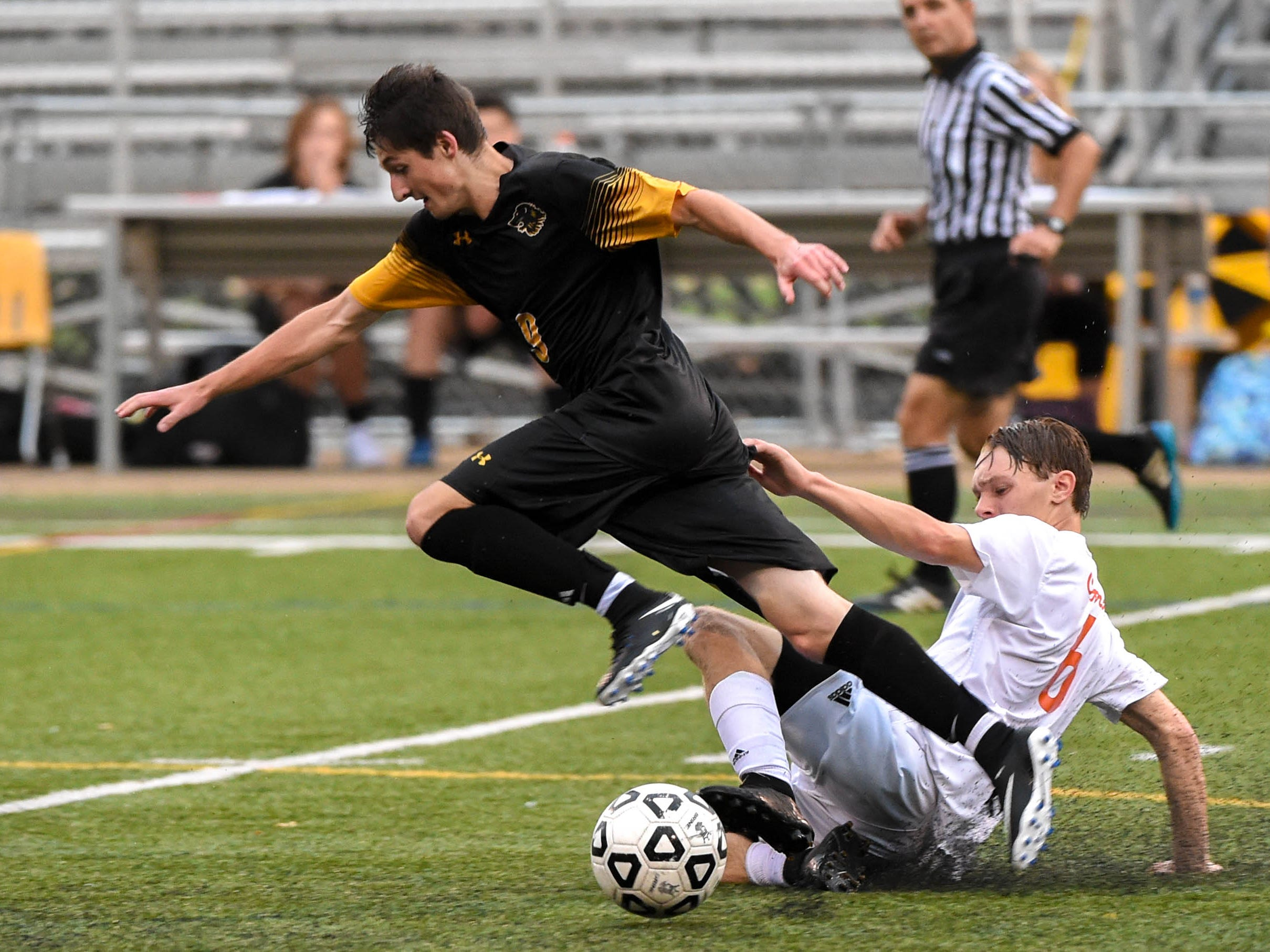 Michael Moffit (9) loses his footing during the Red Lion vs. Central York soccer game September 11, 2018.