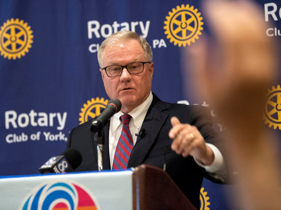 Former state Sen. Scott Wagner takes a question after speaking to the Rotary Club of York at the Country Club of York on Wednesday, September 12, 2018. The Republican spoke about the opioid epidemic and education, along with his blue-collar roots. Wagner is campaigning against incumbent Gov. Tom Wolf, a Democrat, also of York County.