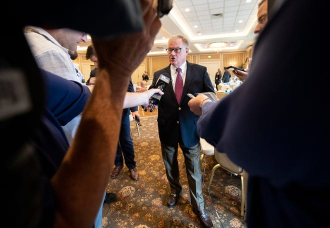 Former state Sen. Scott Wagner, R-Spring Garden Township, speaks with the media following his speech to the Rotary Club of York on Sept. 12.