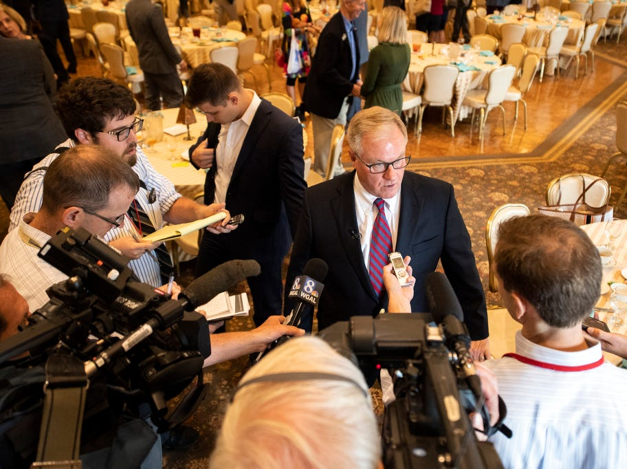 Former state Sen. Scott Wagner speaks with the media following his speech to the Rotary Club of York at the Country Club of York on Wednesday, September 12, 2018. The Republican spoke about the opioid epidemic and education, along with his blue-collar roots. Wagner is campaigning against incumbent Gov. Tom Wolf, a Democrat, also of York County.