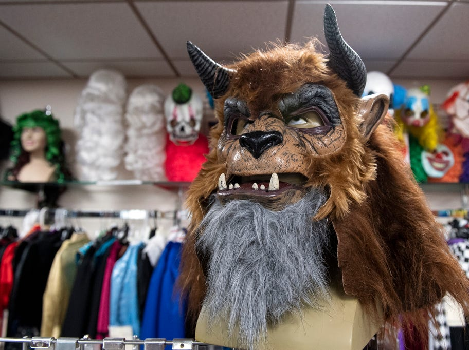 A 'beast mask' sits on display at Make Believin' Costumes, Wednesday, September 5, 2018. Debbi Reck has owned Make Believin' Costumes, in York Township, for 35 years. She said that over the years, costume designs for Halloween have become more creative.