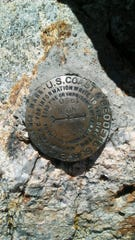 Boundary Peak survey marker on Sept. 9, 2018.