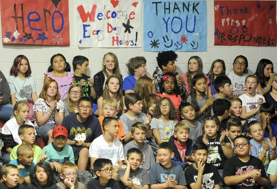 Fernley Intermediate School students listen during their school's 9-11 assembly.