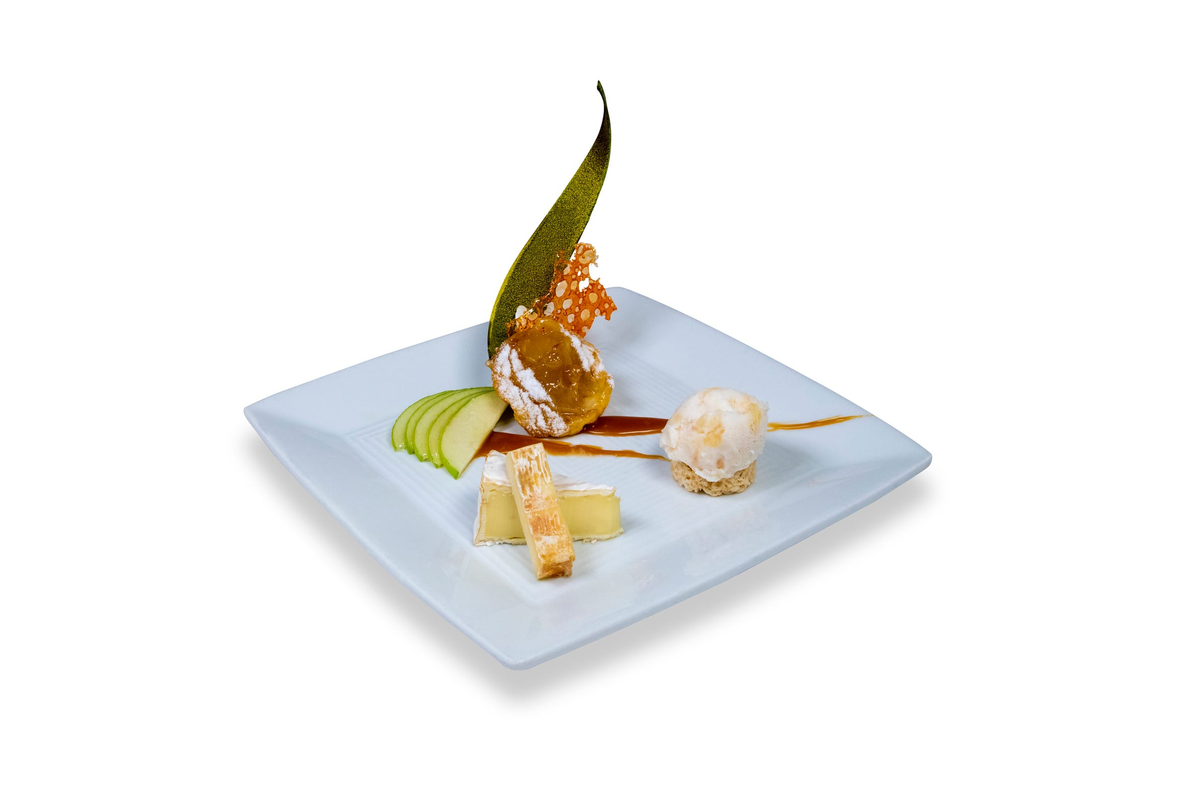 A dessert trio of French cheeses, mini tarte Tatin and Calvados gelato is being served at the Sept. 25, 2018, wine dinner being hosted at the Atlantis Steakhouse by Johnathan L. Wright, Reno Gazette Journal food and drink editor.