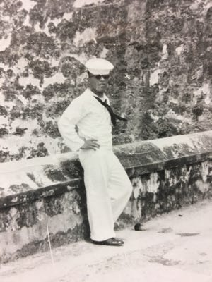 Miriam Zinter's father during his Navy days. He is now 83, and he and Zinter's mother currently live in Penfield.