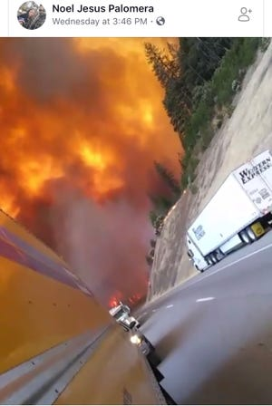 This screenshot of a  video posted on Facebook by Noel Jesus Palomera shows the Delta Fire blowing up Wednesday, Sept. 5, 2018 on Interstate 5 north of Lakehead only a few minutes after he had started to record.