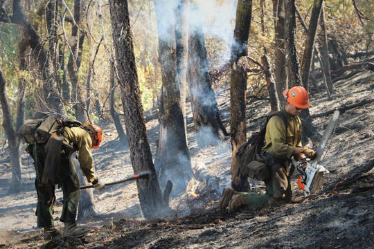 This image from the U.S. Forest Service shows two firefighters at the Kerlin Fire.