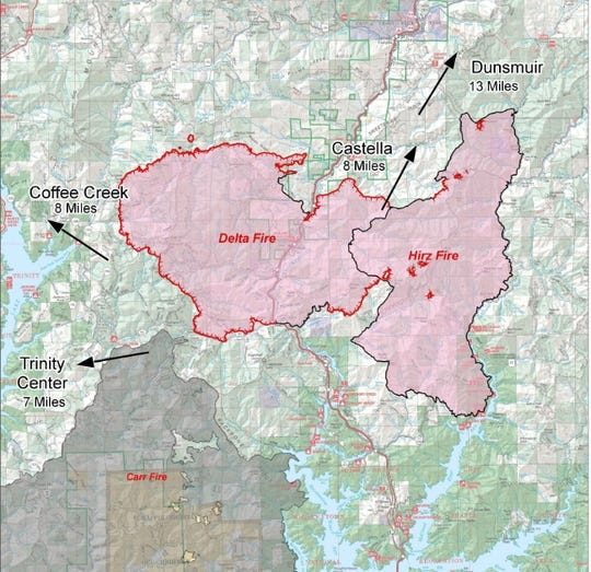 This map released on Wednesday, Sept. 12, 2018 shows the Delta and Hirz fires merged, with the Carr Fire footprint just south.